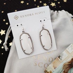 Kendra Scott Elle Silver Drop Earrings White Pearl